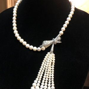Genuine White Cultured Pearl Necklace CZ WGP Bow